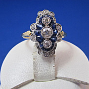 SALE Incredible .54 Natural Sapphire & Diamond Edwardian Antique Ring Platinum
