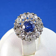 SALE Brilliant Natural Sapphire Old Mine Cut Diamond Estate Halo Ring 14K