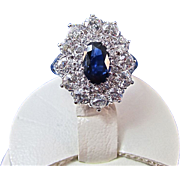 SALE Amazing Sapphire & Diamond Art Deco Vintage Halo Engagement Ring Platinum