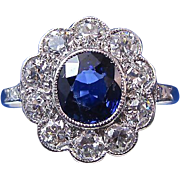 SALE Stunning Sapphire & Diamond Edwardian Halo Engagement Ring Platinum
