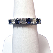 SALE Perfect .84 Natural Sapphire & Diamond Vintage Wedding Band