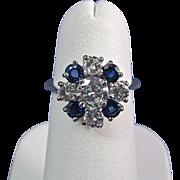 SALE Stunning Diamond Natural Sapphire Vintage Engagement Ring Platinum