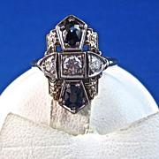 SALE Sapphire Diamond Art Deco Vintage Ring 14K