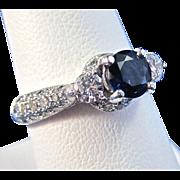 SALE Magnificent Natural Sapphire & Diamond Vintage Engagement Ring Platinum