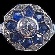 SALE Glamorous Ceylon Sapphire Diamond Engagement Estate Ring 14K