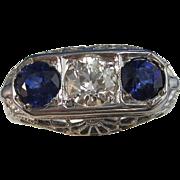 SALE Rich Natural Sapphire & VS Diamond Art Deco Engagement Vintage Ring 18K