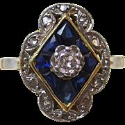 SALE Romantic Art Deco Sapphire & Diamond Downton Abbey Vintage Ring 14K