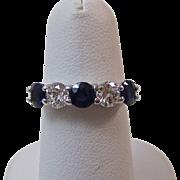 SALE Dazzling Natural Sapphire & VS Diamond Vintage Engagement/Anniversary Ring Platinum