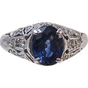 SALE Fabulous Natural Sapphire & Diamond Engagement/Right Hand Art Deco Ring Platinum