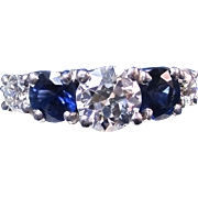 SALE Exquisite Sapphire & Diamond Vintage Wedding/Engagement Ring Platinum