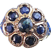 SALE Adorable Antique Sapphire Floral Ring 18K