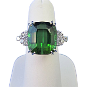 SALE Sophisticated 12.00 Tourmaline & Diamond Dinner Ring 18K