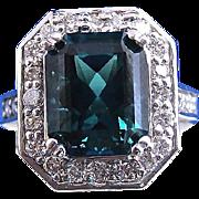 SALE Fabulous 5.77 Tourmaline & Diamond Vintage Ring 14K
