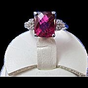 SALE Dazzling Pink Tourmaline Diamond Vintage Ring 14K