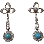 SALE Outstanding 1.65 Diamond & Turquoise Antique Victorian Dangle Earrings 18K