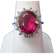 SALE Brilliant Natural Pink Tourmaline & Diamond Vintage Ring 14K