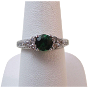 SALE Rich Tourmaline & Diamond Vintage Engagement Ring 14K