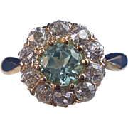 SALE Lovely Zircon & Old European Vintage Diamond Engagement Ring 14K