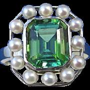 SALE Elegant 3.45 Tourmaline & Cultured Pearl Vintage Estate Ring 14K