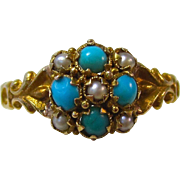 SALE Delightful Turquoise & Seed Pearl Antique Ring 18K