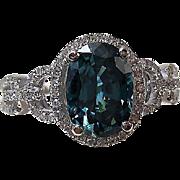 SALE Brilliant Blue Zircon & Diamond Vintage Engagement Ring 14K