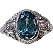 SALE Fabulous 2.28 Zircon & Diamond Vintage Ring 18K