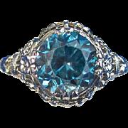 SALE Fabulous Downton Abbey Natural Blue Zircon Vintage Ring 18K