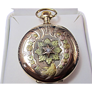 SALE Solid Gold 37.2 Gram Antique Victorian Elgin Diamond Pendant Watch 14K