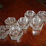 SALE Old Cut Crystal Salt Cellars-deep cuts