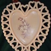 Open Lace Heart Shaped Plate by Westmoreland Glass Co.