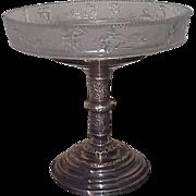 19C Pressed Glass Brides Basket on Original Reed & Barton Frame