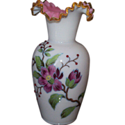 Cased Glass Vase with Vines, Leaves, & Flowers