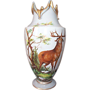 Opaline Vase with Hand Painted Forest Scene featuring a Stag