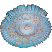 Blue Cased Glass Brides Bowl with Enameled Decorations