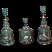 3 Piece Figural Glass Cologne Perfume Vanity Set - C 1880's