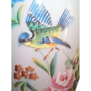 Tall Opaline Vase Lamp with Bird, Leaves, Flowers & Roses