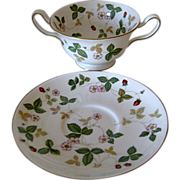 Five (5) Wedgwood Wild Strawberry Cream Soup with Underplate