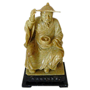 Antique Chinese Soapstone Carving of Elderly  Man Holding Bowl - Early Piece