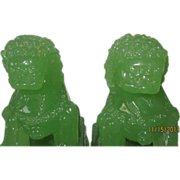 SOLD Chinese Peking Glass Foo Dogs in Green Jade Coloring - Pair