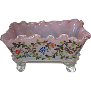 Stevens & Williams Footed Opalescent Bowl With Enameled Decorations