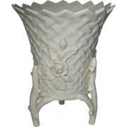 Belleek Vase With Raised Flowers - 2nd Green Mark - 5 l/2 inches High