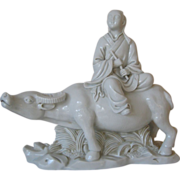 SALE Signed Large Blanc de Chine Girl on Water Buffalo  -