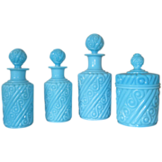 Set of 3 Portieux Opaline Perfume Bottles Plus a Covered Jar - All in the Suedois Pattern