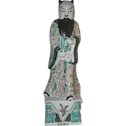 SALE Rare Famille Verte Chinese Statue of the Immortal Zhongli Quan