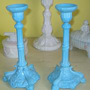 SOLD Pair  Portieux Bavards Candlestick - Blue Opaline - Dolphin Feet