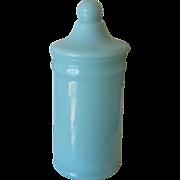 Portieux or European Covered Jar for Fruit Preserve - Blue Opaline