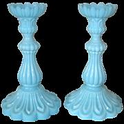 Portieux Blue Opaque Candlesticks - Bambous Ordinaire -