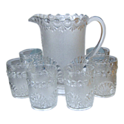 EAPG Shell and Jewel Pitcher with Six Matching Tumblers -