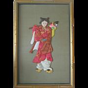 Framed Japanese Ningyo (Doll) - Bamboo Frame - Silk