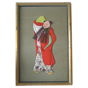 Framed Japanese Ningyo (Doll) of immortal Zhonghi Quan